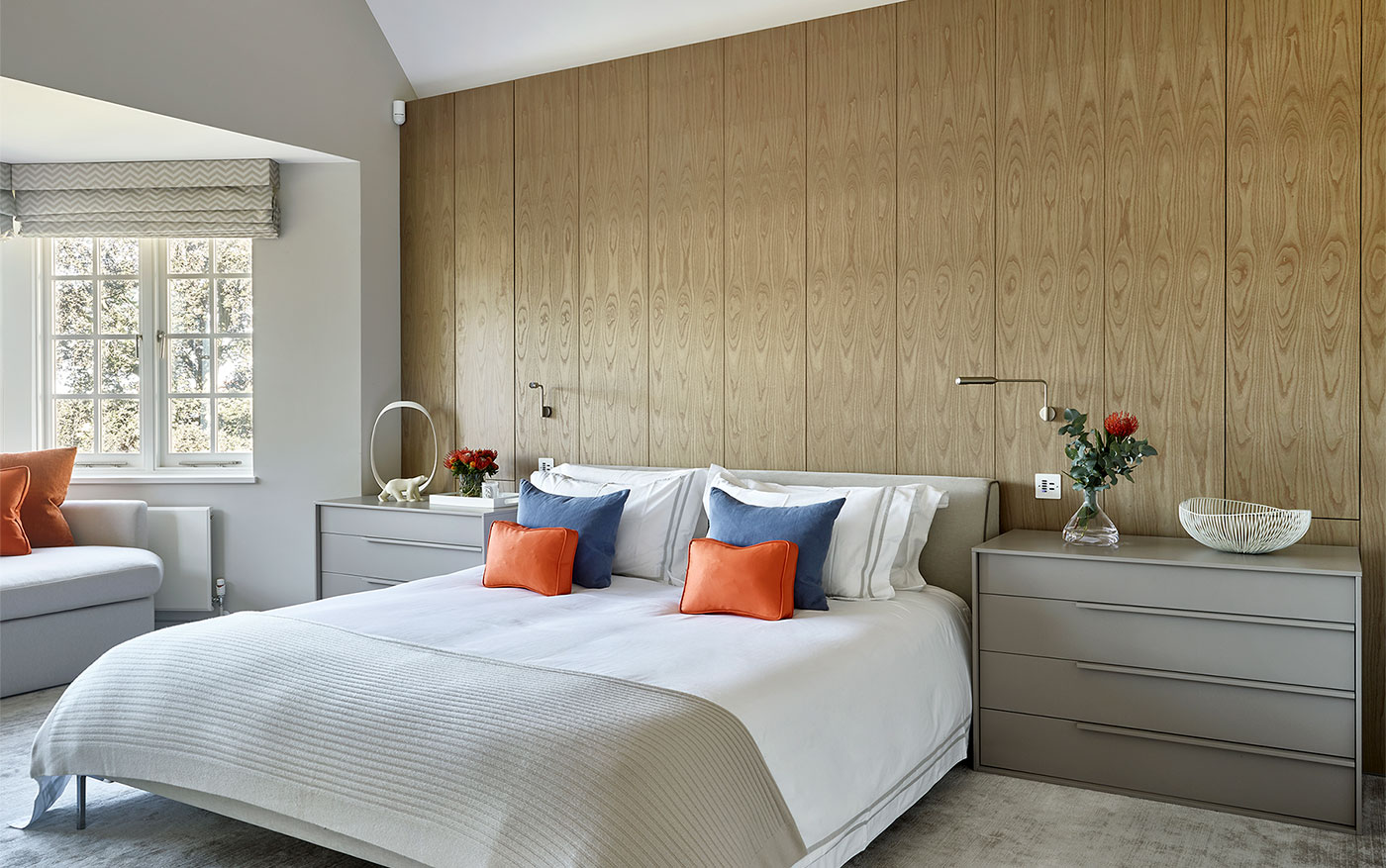 Perfectly accesorised bedside tables in the master bedroom of Hampstead.