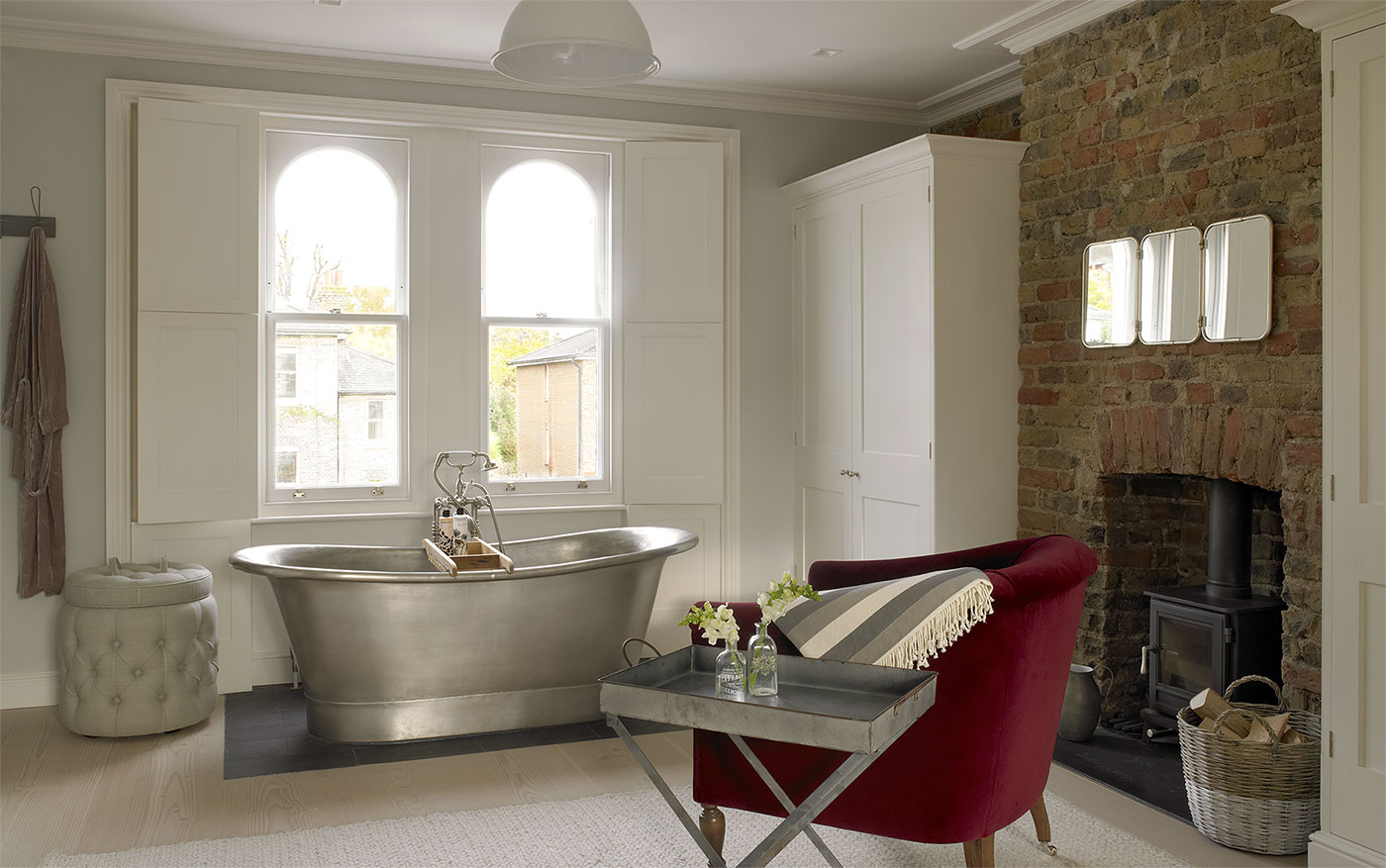 Stunning free-standing bath in our ever popular Wimbledon Victorian villa.